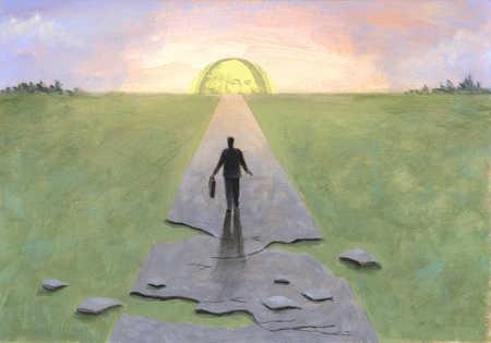 Businessman on crumbling path walking toward dollar on horizon