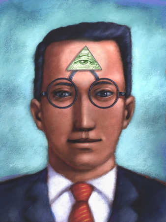 Close up of businessman with pyramid eye in center of forehead