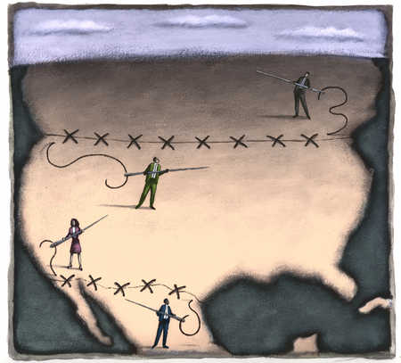 Business people stitching borders of United States