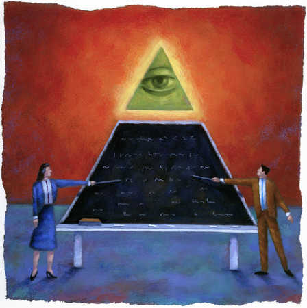 Business people pointing at blackboard under eye of pyramid
