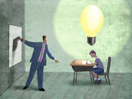 Businessman flipping large switch for light above school boy's head