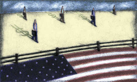 Business people with dollar sign shadows approaching fenced off American flag