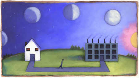 Man walking from house to factory under changing moon