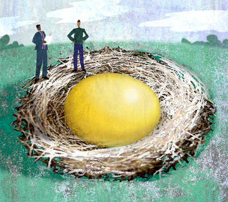 Men looking at large golden egg in nest