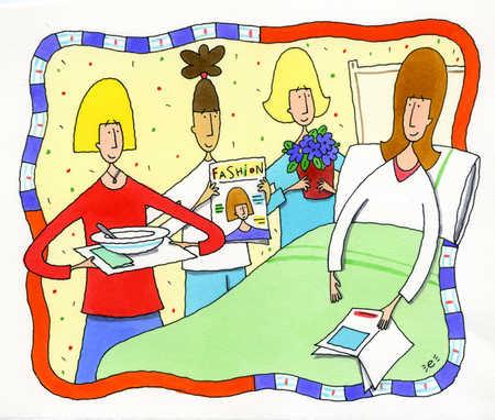 Friends visiting sick woman