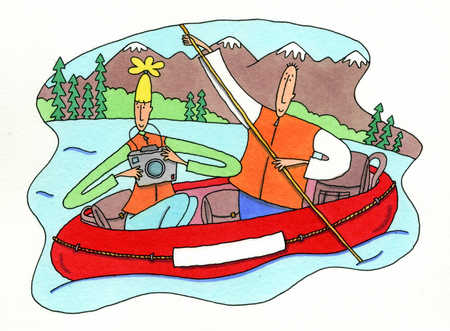 Couple rafting on river