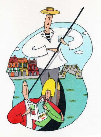 Couple looking at Venice guidebook in gondola