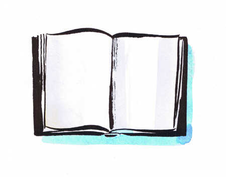 Illustration of open book with blank pages