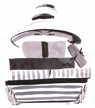 Illustration of woman holding stack of shopping boxes