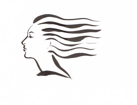 Illustration of wind blowing woman's hair