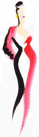 Illustration of glamorous woman wearing red dress