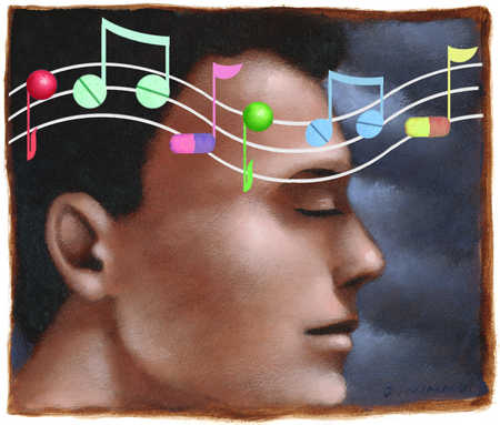 Close up of pill shaped music notes floating over face of man with eyes closed