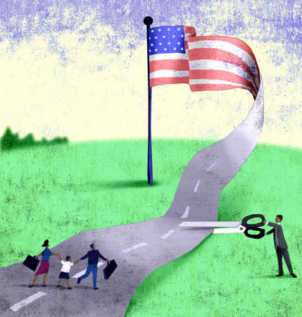 Man under American Flag with scissors cutting road away from immigrants