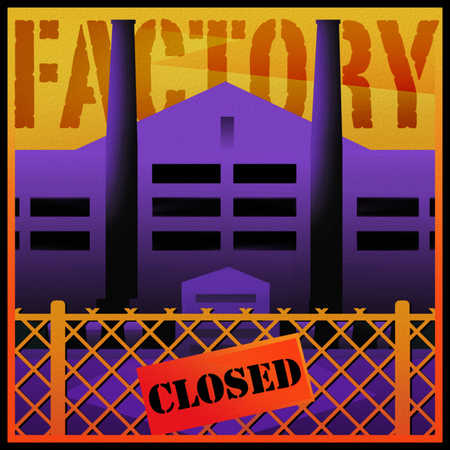 Closed sign on gate in front of factory