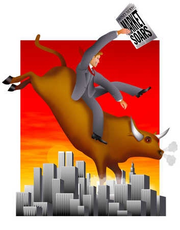 Businessman riding bull and holding newspaper with 'Market Soars' text
