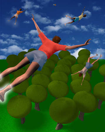 Teenagers flying over trees