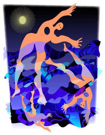 Abstract illustration of people floating in water