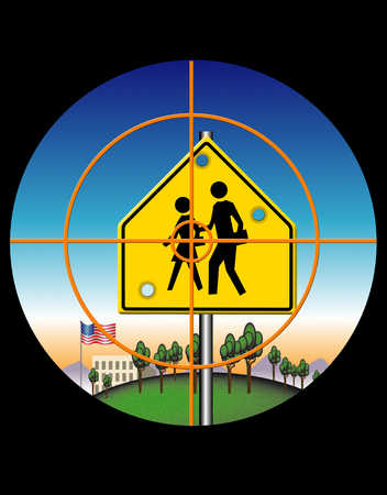 Cross hair aiming at school crossing sign