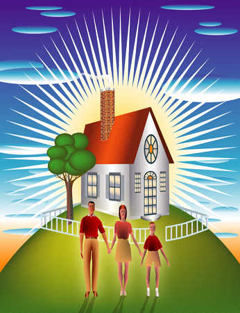 Family standing in front of house illuminated by sun