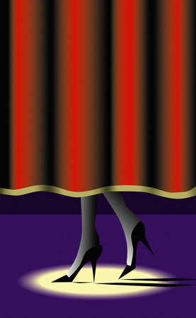 High heels in spotlight behind stage curtain