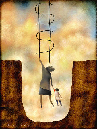 Woman and son in pit reaching for dollar sign ladder