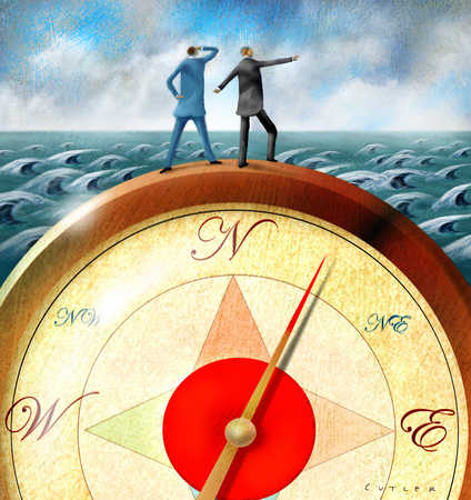 Two businessmen standing on compass and looking at ocean