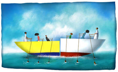 Family in boat halves