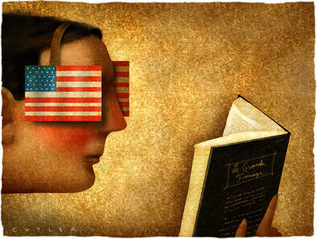 Man reading book wearing American flag blinders