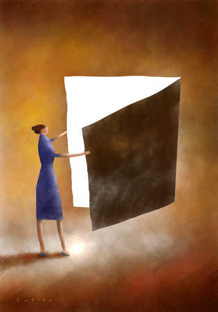 Woman looking into open book