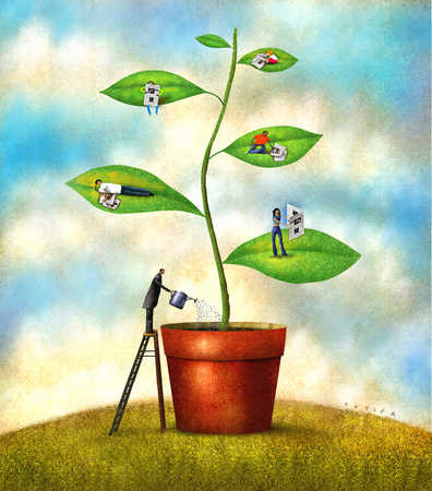 Businessman watering plant with children on leaves