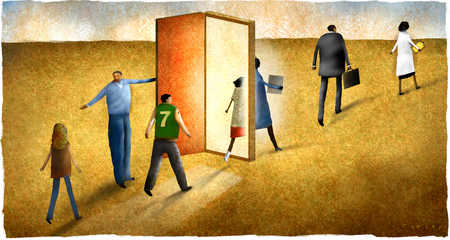 Teenagers walking through career doorway