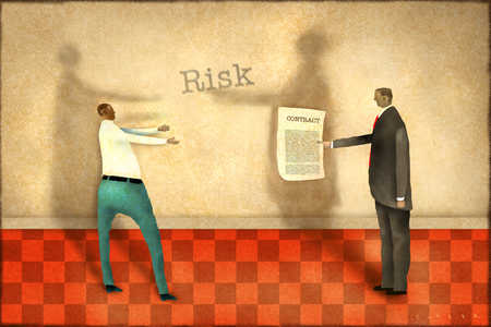 Man reaching for contract in businessman's hands with 'risk' text overhead