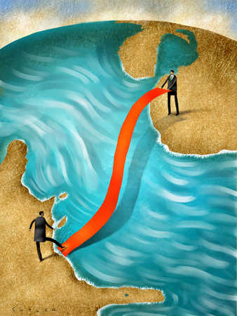 Businessmen laying red tape over ocean between continents
