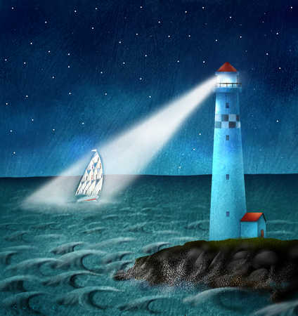 Lighthouse beacon shining on sailboat
