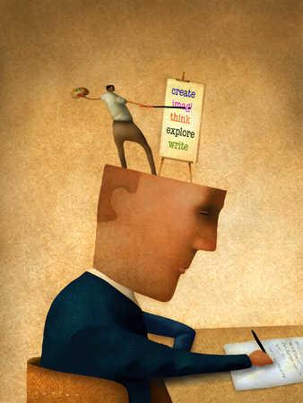 Creative psyche in businessman's brain