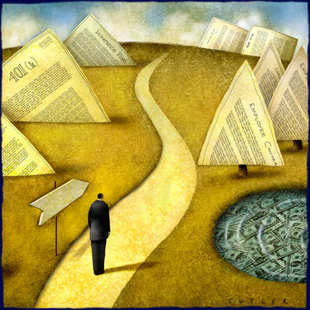 Businessman on path looking at financial documents ahead