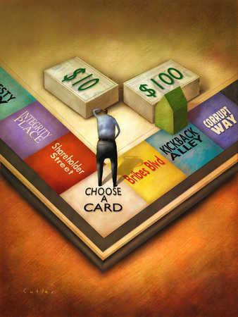 Businessman standing on financial gameboard