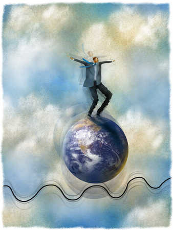 Businessman balancing on globe bouncing on tightrope