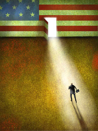Businessman walking towards illuminated doorway in American flag