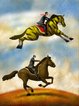 Businessman on striped horse jumping over co-worker on horse