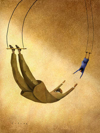 Businessman and businesswomen on trapeze swings reaching for each other