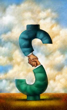 Businessmen's shaking hands forming dollar sign