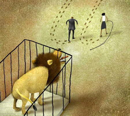 Lion in cage roaring at retreating business people