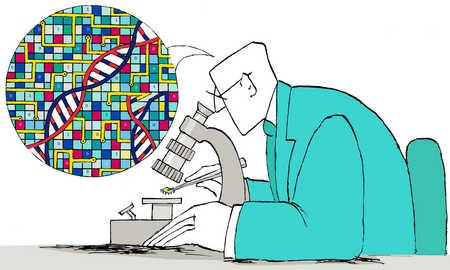 Man examining microchip DNA under microscope