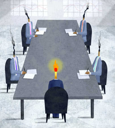 Businessmen with matchstick heads in meeting