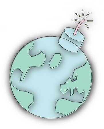 Globe with dynamite fuse