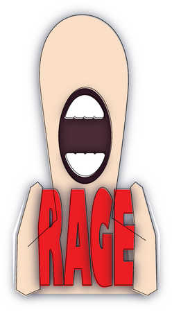 Man with mouth open holding 'rage' text