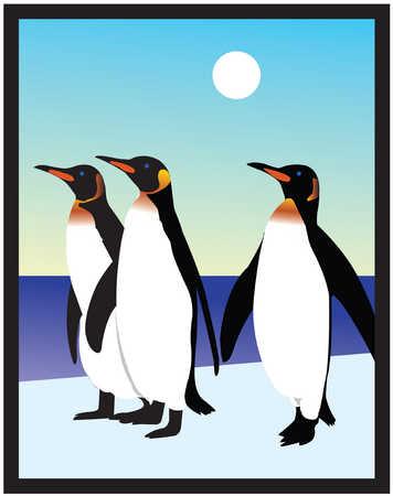 Illustration of three penguins