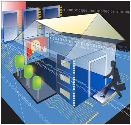 Business person entering house surrounded by binary code