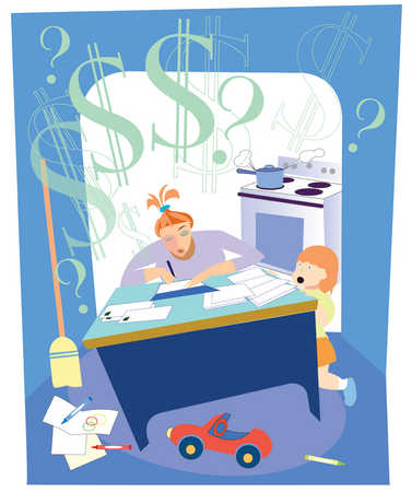 Mother paying bills at desk in kitchen